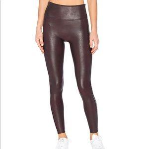 Spank Faux Leather Leggings - Wine